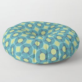 Geometric Circle Pattern Mid Century Modern Retro Blue Green Floor Pillow