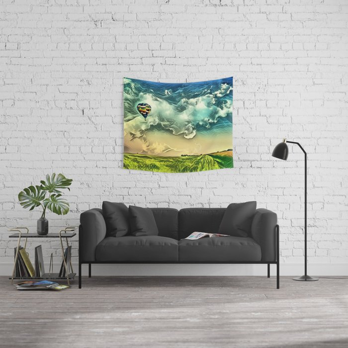 Air Balloon in the Sky with Clouds over the Landscape Wall Tapestry