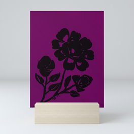 Royal Purple Rose Silhouette Original Design Done with Acrylics Mini Art Print