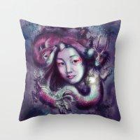 korea Throw Pillows featuring South Korea by Holly Carton