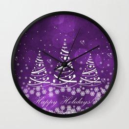 Happy Holidays Purple Magic Wall Clock