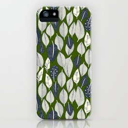 leaves and feathers green iPhone Case