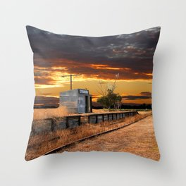 Sunset at the Coonawarra Rail Station Throw Pillow