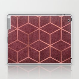 Pink and Rose Gold - Geometric Textured Gradient Cube Design Laptop & iPad Skin