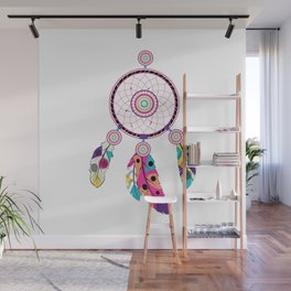 Decorative native dream catcher with colorful stylized feathers Wall Mural