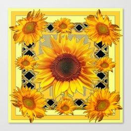 Western Black Golden Sunflowers Art Canvas Print