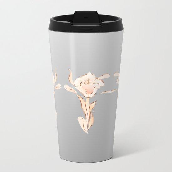 Abstract Lilies Rose Gold Gray Metal Travel Mug