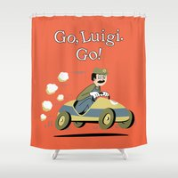 luigi Shower Curtains featuring Go, Luigi. Go! by danobanano