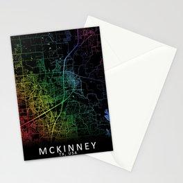 McKinney, TX, USA, City, Map, Rainbow, Map, Art, Print Stationery Cards
