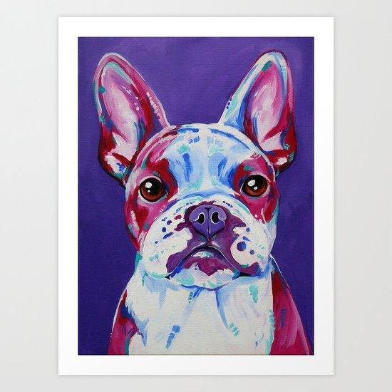 Frenchie in Purple Art Print