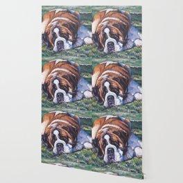 St. Bernard dog art from an original painting by L.A.Shepard Wallpaper