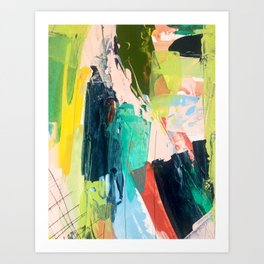 Bloom [2] - a bright mixed media piece in pinks, greens, blues, and yellow Art Print
