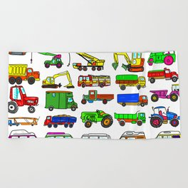Doodle Trucks Vans and Vehicles Beach Towel