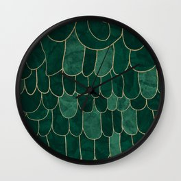 Stratosphere Emerald // Abstract Green Flowing Gradient Gold Foil Cloud Lining Water Color Decor Wall Clock