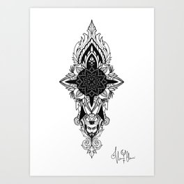 Satyr Grey version Mandala Art Print