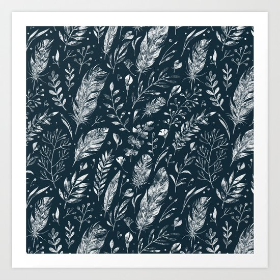 Feathers And Leaves Abstract Pattern Black And White Art Print