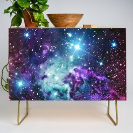 Fox Fur Nebula : Purple Teal Galaxy Credenza