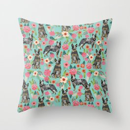 Australian Cattle Dog florals dog breed customized pet portrait by pet friendly Throw Pillow