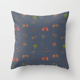 Prussian Blue Garam Masala Pattern Throw Pillow