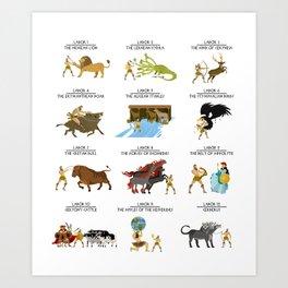hercules heracles mythhercules heracles mythology twelve laborsology twelve labors Art Print