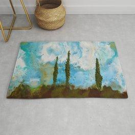 Tuscan Sunset original Encaustic wax painting by Seasons Kaz Sparks Rug