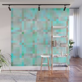 Mint Green & Gray Pixels Wall Mural