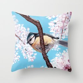 Cyanistes caeruleus Throw Pillow