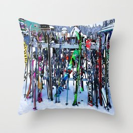 Ski Party - Skis and Poles Throw Pillow