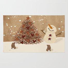 Primitive Country Christmas Tree Rug