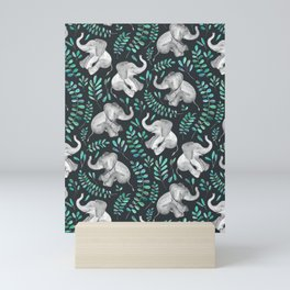 Laughing Baby Elephants – emerald and turquoise Mini Art Print