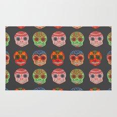 Watercolor Dia de los Muertos Skulls Rug