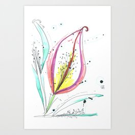 Ink and color flower Art Print
