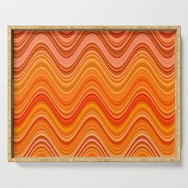 summer vibes orange coral red yellow pink puce wavy striped pattern Serving Tray