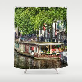 Amsterdam Houseboat on Canal Shower Curtain