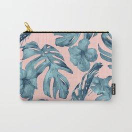 Island Life Teal on Light Pink Carry-All Pouch