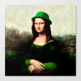 Lucky Mona Lisa - St Patrick's Day Canvas Print