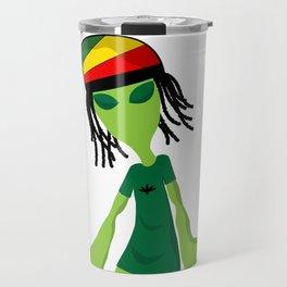 Rastafari Alien Smoking Weed Rasta Marijuana Smoker design Travel Mug