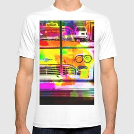yellow classic taxi car with colorful painting abstract in pink orange green T-shirt