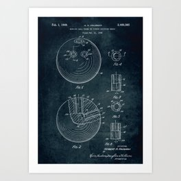 1948 - Bowling ball patent art Art Print
