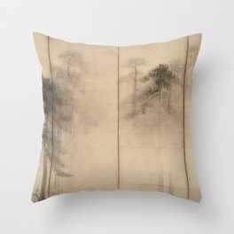 Pine Trees Six-Fold Azuchi-Momoyama Period Japanese Screen - Hasegawa Tohaku Throw Pillow