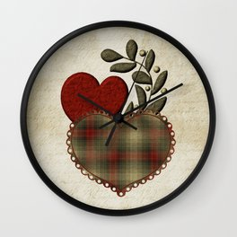 Red & Green Plaid Heart Love Letter Wall Clock