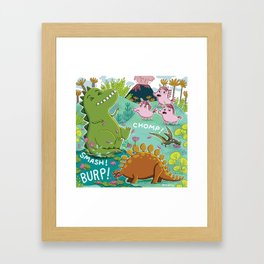 Unicorns & Dinosaurs Framed Art Print