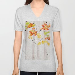 Autumn Birch Song Unisex V-Neck