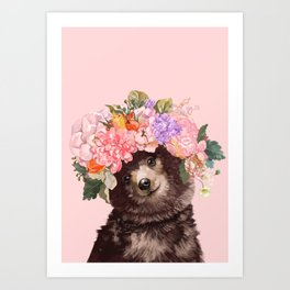 Baby Bear with Flowers Crown Art Print