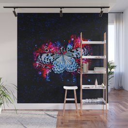 butterfly beautiful strong free splatter watercolor blue red Wall Mural
