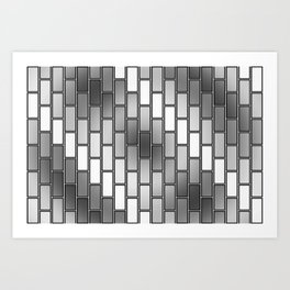 BRICK WALL #2 (Grays & White) Art Print