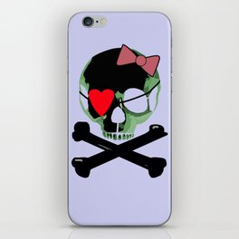 Green skull with heart and bow iPhone Skin