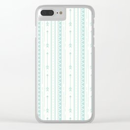Blush green bohemian arrows zigzag geometrical Clear iPhone Case