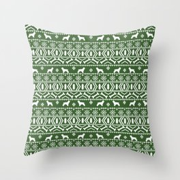 Cocker Spaniel fair isle christmas pattern dog breed holiday gifts green and white Throw Pillow