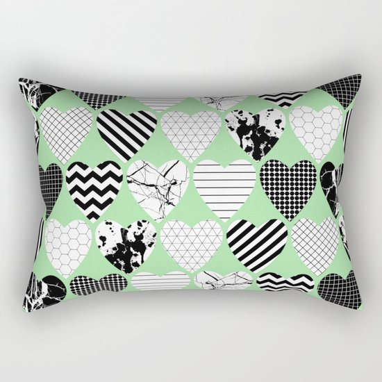 Hearts On Pastel Green - Abstract, black and white, geometric Rectangular Pillow